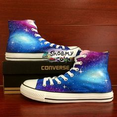 13161f210f Unique Gifts Women Converse Galaxy Hand Painted High Top Canvas Shoes