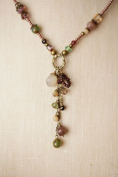 """Anne Vaughan Designs - Mauve Mix 17-19"""" Dangle Tassle Necklace, $66.00 (http://www.annevaughandesigns.com/mauve-mix-handmade-dangle-tassle-gemstone-necklace/) #giftidea #fbloggers #bbloggers #treatyourself #jewelryinspo"""