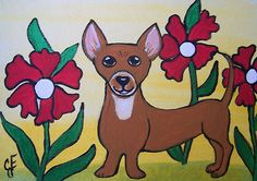 """Chihuahua Puppy"" Original Painting Artist Trading Card Julie Ellison Art"