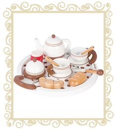 Janod Breakfast Set Janod Breakfast Set. A wooden breakfast tea set from the chic range. The set consists of a tea pot, 2 tea cups and saucers with matchng tea spoons, 2 bread rolls, knife, butter dish and Jam pot. All presented on a matching tray. All Janod toys are designed in France and manufactured to strict quality and safety standards, meeting both European and Australian requirements. Age Range: 3 years + Dimensions: 30cm x 25cm x 10cm $69.95