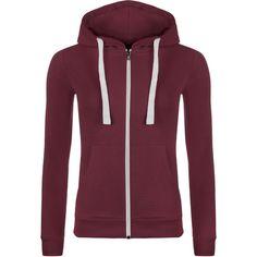 WearAll Basic Zip Up Hoodie Top ($9.07) ❤ liked on Polyvore featuring tops, hoodies, wine, zip hoodies, sweatshirt hoodies, purple hoodies, hooded pullover and zip up hoodie
