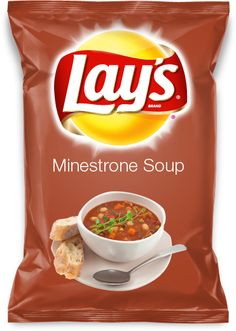 Minestrone Soup There is nothing like a good bowl of Minestrone Soup, so why not make it a chip flavor, so very deliciously good. Lays Chips Flavors, Potato Chip Flavors, Potato Chips, Mental Asylum, Forbidden Fruit, Snack Recipes, Snacks, Food Combining, Weird Food