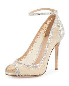 42d12c6e3e Gianvito Rossi Gemma Crystal Peep-Toe Ankle-Strap Pump. Sapatos De Noiva