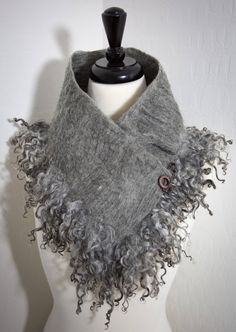 Excited to share the latest addition to my #etsy shop: Australian Merino Wool and Gotland Sheep Curl Locks Cowl Collar Necklace Scarf Mixed Gray and Black Neck Warmer Gift for Her Felt Scarf #art #fiberart #valentinesday #gray #black #sheepboa #felt #valentinesdaygift #neckwarmer