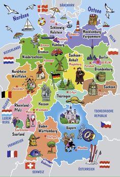 Карта Германии с федеральными землями и их столицами
