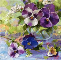 "Daily+Paintworks+-+""Peaceful+Pansies""+-+Original+Fine+Art+for+Sale+-+©+Krista+Eaton"