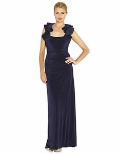 Women's Apparel | Formal/Evening | Glitzy Knit Ruffle Gown | Lord and Taylor
