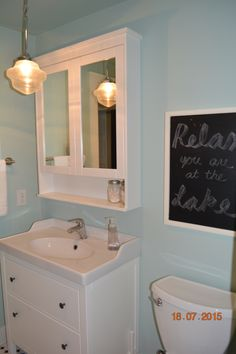 i chose the ikea hemnes sink and medicine cabinet for the guest bathroom the mint