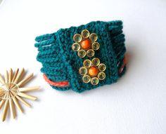 MultiStrand Crochet Bracelet Cuff Handmade by CraftsbySigita,