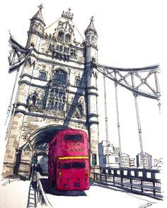"2,105 Likes, 46 Comments - watercolor@horiaki2 (@horiaki2) on Instagram: ""ロンドン・タワーブリッジ Tower Bridge , London #watercolor #watercolour #水彩画 #透明水彩 #スケッチ #watercolorsketch…"""