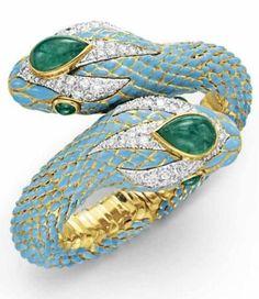 AN EMERALD, DIAMOND AND ENAMEL BRACELET, BY DAVID WEBB. Christie's.