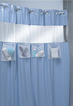 Hookless Shower Curtain With Mesh Pockets