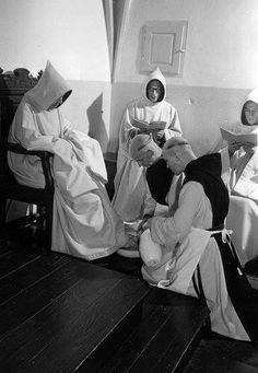 """Trappist Ritual of Acceptance...   Abbot: """"What do you seek?""""  Monk: """"The mercy of God and the mercy of the brothers."""""""
