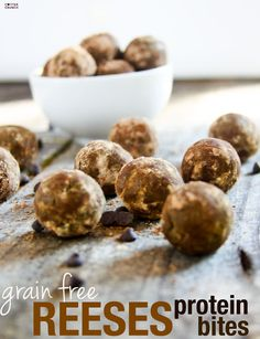 Grain and Gluten Free dark chocolate cocoa Reese's protein bites recipe! A superfood snack that's delicious, no bake, and protein packed!