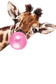 Sneaky Giraffe Blowing Bubble Gum Art Print by Big Nose Work iCanvas Giraffe Drawing, Giraffe Painting, Giraffe Art, Cute Giraffe, Canvas Artwork, Canvas Prints, Art Prints, Blowing Bubble Gum, Big Noses