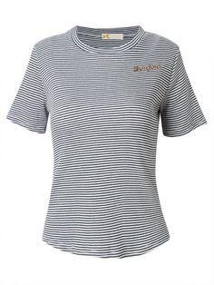 Women Short Sleeve O Neck Stripe Letter Embroidery Slim T-shirt