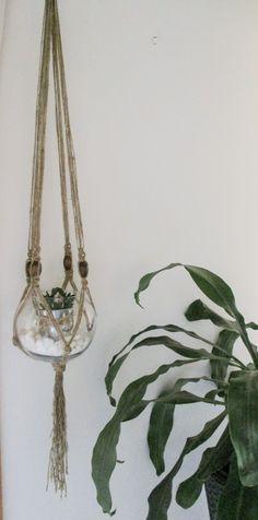 Natural jute twine macrame plant hanger. #macrame #jute #gardenideas #handmade #etsyfinds