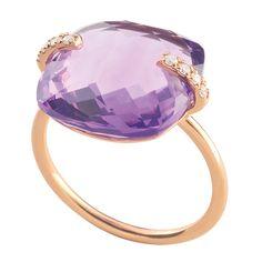 Bague améthyste diamants violette or rose Morganne Bello