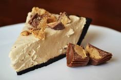 """Peanut Butter Yogurt Pie:  """"Rich and creamy peanut butter pie in an Oreo crust.  Made with just Greek yogurt and peanut butter, the tart peanut butter filling is loaded with healthy fats and protein.  No-bake and simple prep make it a must-try!"""""""
