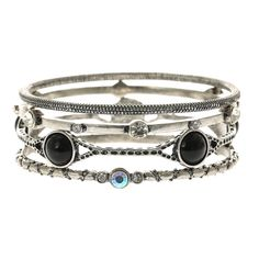 5 Pack Silver Stone Bangles