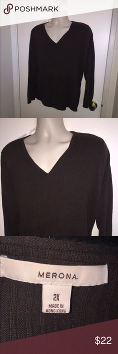 Morona 2x dark brown sweater WORN ONCE WASHED ONCE Merona Sweaters V-Necks