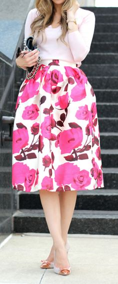 rose print midi skirt - on sale for $42!
