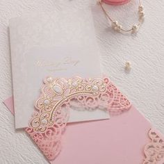 Royal Pink Laser Cut Wedding Invitations Cards With Gold Embossed Hollow Flora Design for Bridal Shower Free Customized Quince Invitations, Laser Cut Wedding Invitations, Wedding Invitation Cards, Wedding Cards, Wedding Day, Trendy Wedding, Flora Design, Pink Design, Bridal Shower Planning