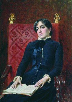 Portrait of a Lady with a book, 1888, Fyodor Bronnikov