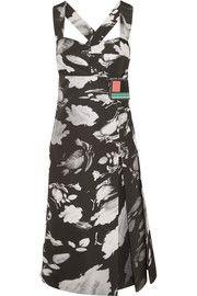 Wrap-effect printed satin-twill midi dress
