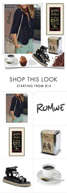"""Romwe.Black Polka Dot With Buttons Blouse"" by natalyapril1976 on Polyvore featuring Mode und Pottery Barn"