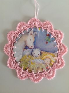 Could DIY - using old Christmas cards - Christmas card ornament pink nativity baby Jesus by littlebundles3, $2.50