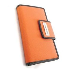 Wallet checkbook holder leather Frandi gray charcoal grey.