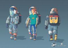 Lucid Dream - game character space suit concept, Tomas Ciger Eniac on ArtStation at https://www.artstation.com/artwork/X08By