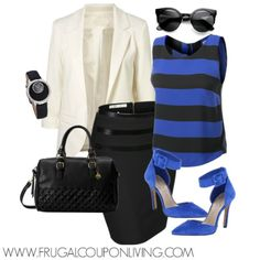 Stand out in the office! Frugal Fashion Friday Black and Blue Work Outfit. Loving the pop these affordable @jessicasimpson heels bring! #frugalfashionfriday #fashion #fashionista #fashionfriday #fashionforward #jessicasimpson #pencilskirt #work #office #polyvoreootd #polyvore #outfit #ootd http://www.frugalcouponliving.com/frugal-fashion-friday-work-outfit/