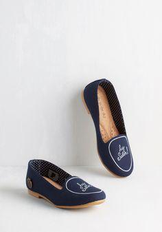 """Hey Sailor"" shoes. Happy Fleet Flat. Avast! #blue #modcloth"
