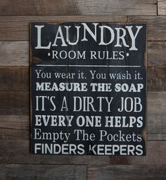 Large Wood Sign  Laundry Room Rules  Subway Sign by dustinshelves, $35.00