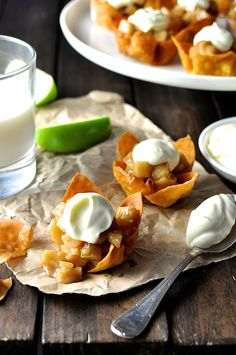 Mini Apple Pie Wonton Cups - just over 15 minutes to make a whole tray! Wonton wrappers are a great shortcut , perfect size for muffin tins.