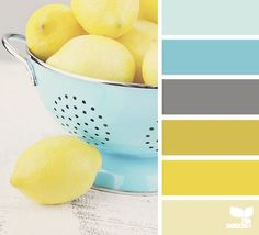 lemony sweet: This is the color palate   that I chose for my kitchen. Walls are gray, then I have 1 accent wall light   yellow and all oe my kitchen decor is the the aqua. I have all of the stuff on   top of my cabinets for decor is aqua, along with utensil holder and spoon rest.   I love it:)