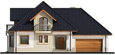 Elewacja frontowa projektu Dandys 1 G2 Home Fashion, House Plans, Shed, Villa, 1, Outdoor Structures, Cabin, Mansions, Architecture