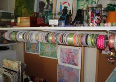 Ribbon Organizing, on a dowel rod  hung from a shelf