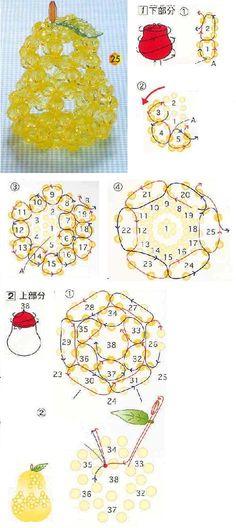 Crystal beaded Pear - Beaded Jewelry Patterns 水晶手工串珠梨