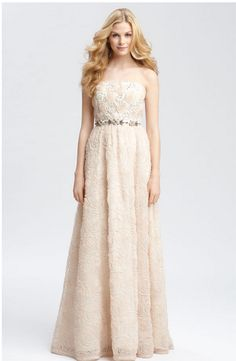 Strapless Rose Colored Wedding Gown Ivy and Aster makes a very similar gorgeous rosette gown!!!! www.sashasbridal.com