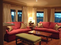 Silk curtains on rods and rings - Candlewick Interior decorators Melbourne