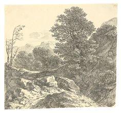 Carl Friedrich von Rumohr Reinhardtsgrimma 1785 – 1843 Dresden  Italienische Gebirgslandschaft. Feder in Schwarz auf Bütten. 19,3 × 20,7 cm (7 ⅝ × 8 ⅛ in.)