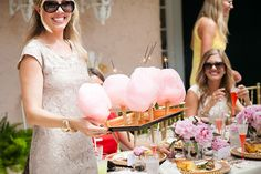LOVE the sparklers in the cotton candy. This bridal shower is super cute!  http://www.100layercake.com/blog/2014/01/17/gold-pink-bridal-shower/