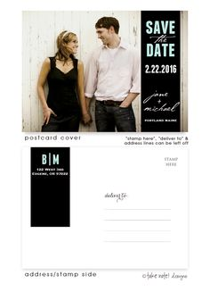 Black Wrap Tag Save The Date Postcard: Unique and beautiful photo Save the Date Postcards by take note! designs. Your custom text and font selections, will create the perfect custom Postcard. Cards are full color front and back-side printed for that extra special touch.