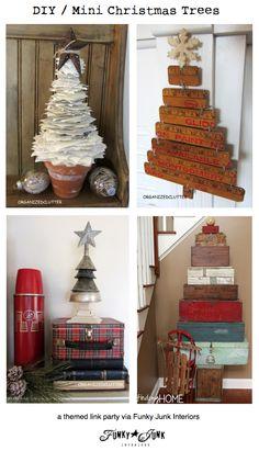 DIY / mini Christmas trees, a themed link party via Funky Junk Interiors