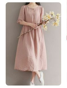 Women loose fitting over plus size linen dress long tunic pregnant maternity – Plus Size Fashion Plus Size Maxi Dresses, Trendy Dresses, Simple Dresses, Plus Size Outfits, Halter Dresses, Sleeve Dresses, Dresses Dresses, Prom Dress, Look Fashion