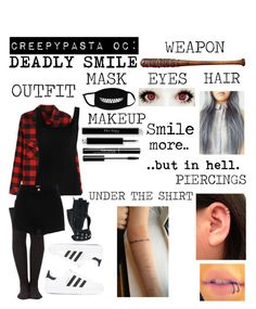 """Creepypasta OC"" by yourlittledemonx3 ❤ liked on Polyvore featuring Twenty, Wilsons Leather, River Island, Lucille and adidas"