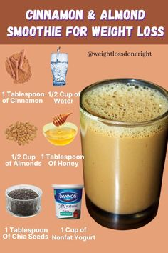 Start Losing Weight, Ways To Lose Weight, Weight Loss Smoothies, Healthy Smoothies, Cinnamon Almonds, Healthy Recipes, Diet, Fitness Nutrition, Fruit